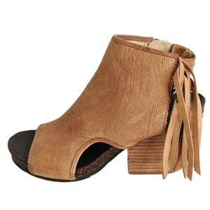 OTBT Free Spirit Leather Fringe Stack Heel Sandals